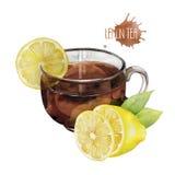 Tazza di tè dell'acquerello con il limone Fotografia Stock