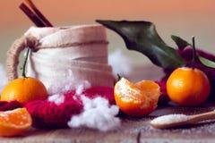 Tazza di tè e dei mandarini Immagini Stock Libere da Diritti