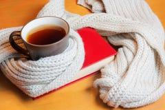 Tazza di tè e del libro Fotografie Stock