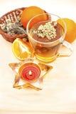 Tazza di tè e di frutta fresca Fotografia Stock