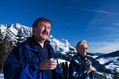 Tazza di tè nelle alpi Fotografie Stock Libere da Diritti