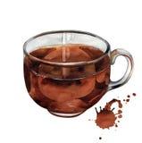 Tazza di tè nero dell'acquerello Immagine Stock Libera da Diritti