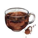 Tazza di tè nero dell'acquerello Fotografia Stock