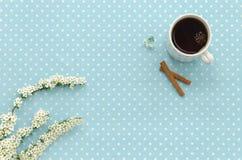 Tazza di tè nero Priorità bassa del puntino di Polka Immagini Stock Libere da Diritti