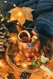 Tazza di tè piccante caldo con anice e cannella Composizione in autunno Immagine Stock