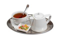 Tazza di tè su un piattino Fotografie Stock Libere da Diritti