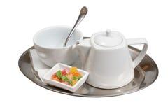 Tazza di tè su un piattino Fotografia Stock