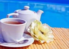 Tazza di tè su un piattino e su una teiera fotografia stock libera da diritti