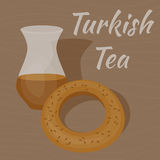 Tazza di tè turca con il bagel tradizionale illustrazione vettoriale