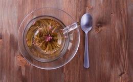 Tazza di tè verde con il cucchiaino da tè Fotografia Stock