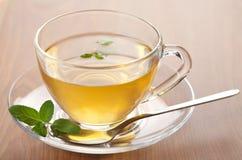 Tazza di tè verde con la menta Fotografia Stock