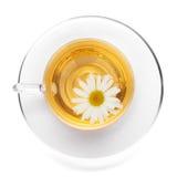 Tazza di tè con il fiore della camomilla Fotografie Stock Libere da Diritti