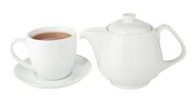 Tazza di tè e della teiera Fotografie Stock Libere da Diritti