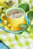 Tazza di tisana con i fiori ed il limone del tiglio Fotografie Stock
