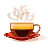 Tazza di vetro con caffè caldo Immagine Stock
