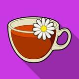 Tazza di vetro con tè utile Tè di camomilla terapeutico vegetariano I piatti vegetariani scelgono l'icona nel simbolo piano di ve Fotografie Stock
