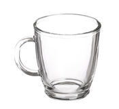 Tazza di vetro vuota di tè con la maniglia isolata immagine stock