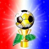 Tazza dorata di campionato di calcio Fotografia Stock