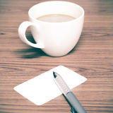 Tazza e biglietto da visita di caffè Immagini Stock Libere da Diritti