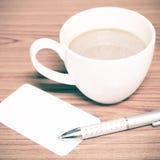 Tazza e biglietto da visita di caffè Fotografie Stock