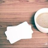 Tazza e biglietto da visita di caffè Fotografia Stock Libera da Diritti