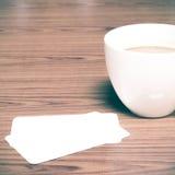 Tazza e biglietto da visita di caffè Fotografia Stock