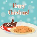 Tazza e biscotti caldi del chokolate Fotografia Stock Libera da Diritti