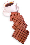 Tazza e biscotti di caffè isolati Immagini Stock