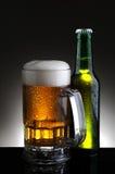 Tazza e bottiglia di birra Fotografie Stock