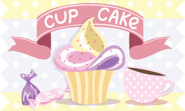 Tazza e caramella del muffin illustrazione di stock