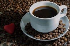 Tazza e cuore di caffè Fotografia Stock