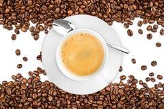 Tazza e fagioli di caffè fotografie stock libere da diritti