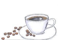 Tazza e fagioli di caffè dipinti con gli acquerelli su un fondo bianco, Fotografia Stock
