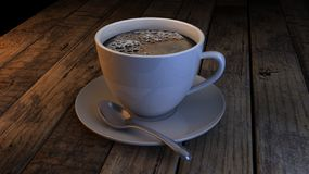 Tazza e piattino di caffè su una tabella di legno Immagini Stock Libere da Diritti