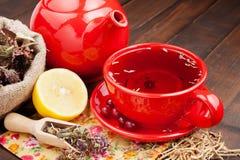 Tazza e teiera di tè rossa, erbe curative e limone immagine stock libera da diritti