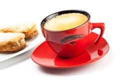 Tazza e torta del caffè espresso Immagini Stock