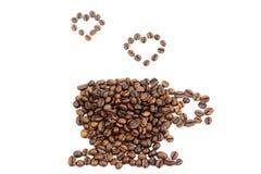 Tazza fatta dei fagioli di cofee Fotografie Stock