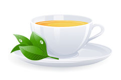 Tazza isolata di tè Fotografia Stock