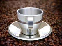 Tazza metallica argentea del caffè espresso Immagine Stock Libera da Diritti