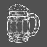 Tazza più oktoberfest della birra di legno del mestiere Illustrazione disegnata a mano di vettore incisa annata nera Fotografia Stock