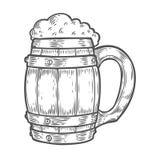 Tazza più oktoberfest della birra di legno del mestiere Illustrazione disegnata a mano di vettore incisa annata nera Fotografia Stock Libera da Diritti