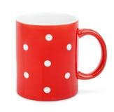 Tazza rossa con il puntino di Polka immagine stock libera da diritti