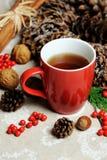 Tazza rossa con tè caldo Fotografia Stock