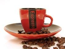 Tazza rossa del caffè espresso Immagini Stock Libere da Diritti