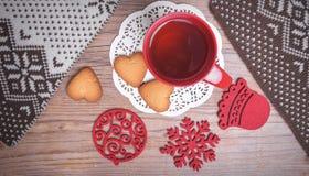 Tazza rossa della vista superiore del tè Immagini Stock