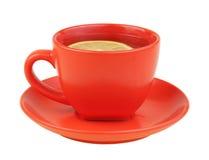 Tazza rossa di tè con il limone Immagini Stock