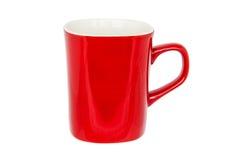 Tazza rossa isolata su bianco Fotografie Stock Libere da Diritti
