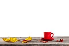 Tazza rossa sulla tavola con le foglie di autunno Immagini Stock Libere da Diritti