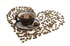 Tazza scura del caffè di mattina Immagini Stock Libere da Diritti