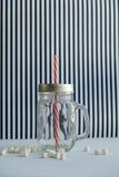 tazza stilizzata del barattolo di muratore per le bevande su un fondo in bianco e nero Fotografia Stock Libera da Diritti